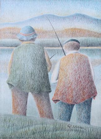 Quadro di Roberto Masi Pescatori - litografia carta