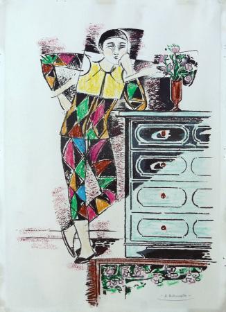 Quadro di Alberto Bolzonella Arlecchino pensieroso - Pittori contemporanei galleria Firenze Art