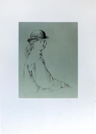 Art work by Antonio Bueno Ragazzo con cappello  - lithography paper