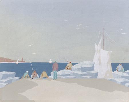 Quadro di Enrico Faustini Molo con pescatori - olio tavola