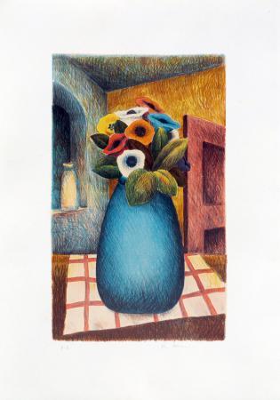 Art work by Roberto Masi Vaso di fiori - lithography paper