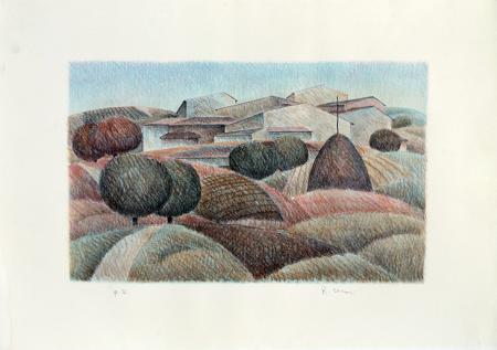 Art work by Roberto Masi Paesaggio - lithography paper
