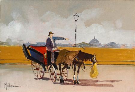 Quadro di G. Migliorini Carrozzella al Piazzale Michelangelo - olio cartone telato