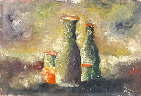 Quadro di  Rovai Composizione con bottiglie - olio cartone telato