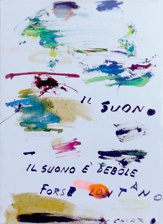 Quadro di Giuseppe Chiari Il suono è debole - olio tela