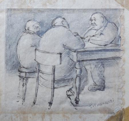 Quadro di Nino Tirinnanzi Conversazione a tavola - lapis carta