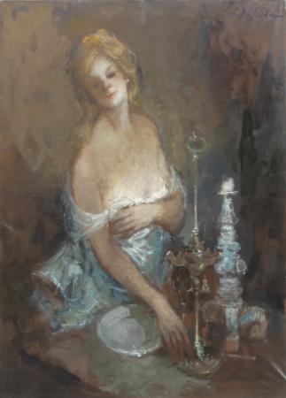 Quadro di Osman Lorenzo De Scolari Donna in veste da sera - olio tela