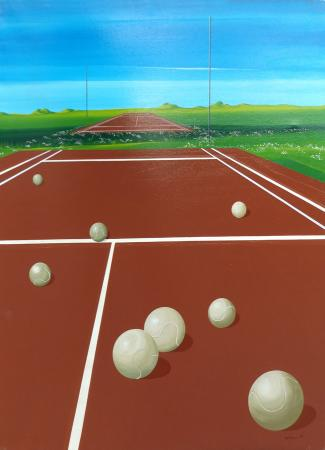 Art work by Franco Lastraioli Campo da Tennis - varnish canvas