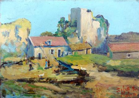 Art work by Salvatore  Malesci Case di campagna - oil table