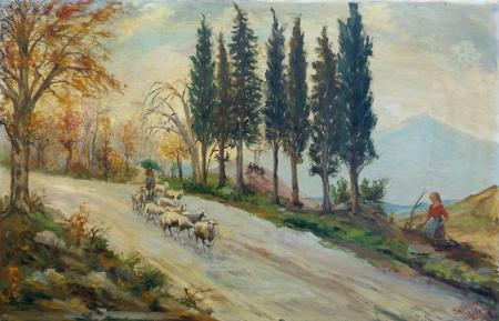 Art work by Salvatore  Malesci In campgna - oil canvas