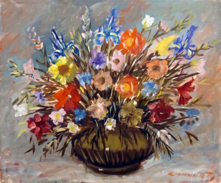 Art work by  Cincinnati Vaso di fiori - oil canvas
