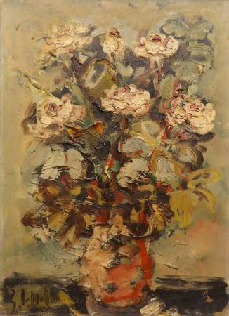 Quadro di Emanuele Cappello Vaso di rose - olio tela