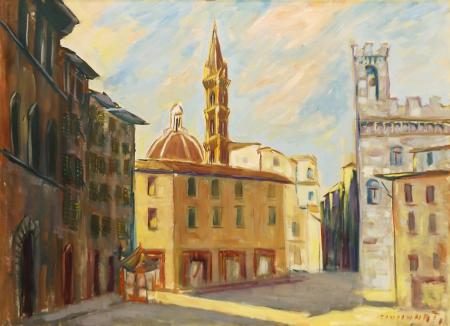 Art work by  Cincinnati Piazza San Firenze - oil canvas