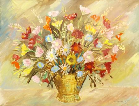 Art work by  Cincinnati Vaso con fiori di campagna - oil canvas
