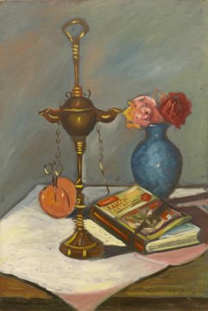Art work by  Cincinnati Composizione con libro - oil canvas