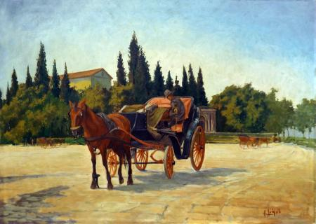 Art work by Pancrazio Spinelli Attesa in carrozza - oil canvas