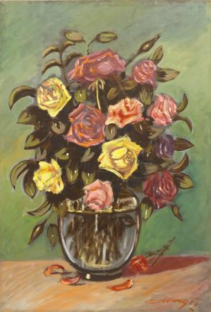 Quadro di  Cincinnati Vaso di rose gialle e rosa - Pittori contemporanei galleria Firenze Art