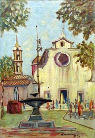 Art work by  Cincinnati Piazza Santo Spirito Firenze - oil canvas