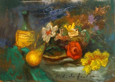 Quadro di Osman Lorenzo De Scolari Composizione con vino e pere - olio faesite