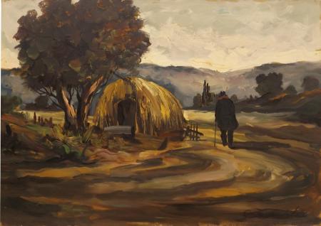Quadro di Domenico Seloski Uomo in campagna - olio faesite
