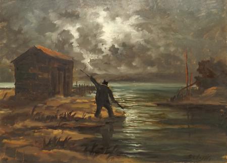 Quadro di Domenico Seloski Marina notturna - olio faesite