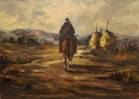 Quadro di Domenico Seloski Uomo a cavallo - olio faesite