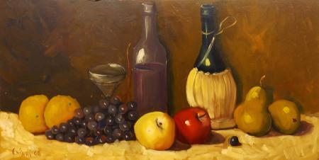 Quadro di  Chiari Composizione con frutta e vino - olio faesite