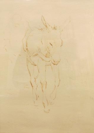 Quadro di Gino Paolo Gori Asino - china carta gialla