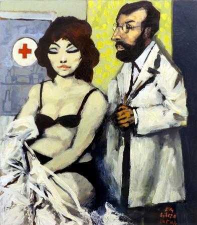 Art work by Fausto Maria Liberatore Il medico e la paziente - oil hardboard