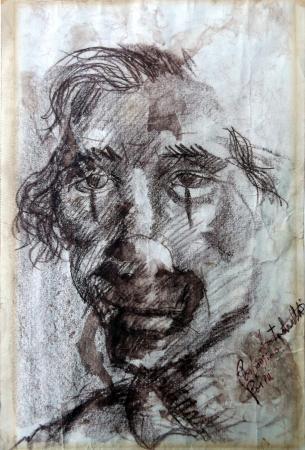 Art work by firma Illeggibile Pagliaccio - pastel yellow paper