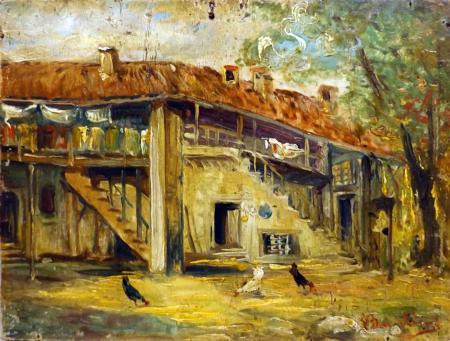 Quadro di Giulio Bargellini Casa e galline - olio tavola