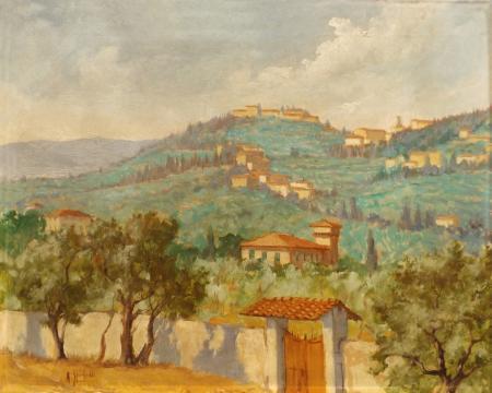 Quadro di Pancrazio Spinelli Paesaggio di campagna - olio tela
