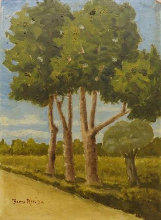 Art work by Beppe Renda Paesaggio calabrese  - oil cardboard