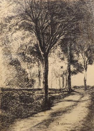 Quadro di A. Vannucci Paesaggio - china carta