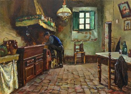 Art work by Mario Tamburini Umile dimora - oil table