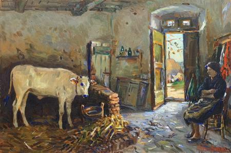Quadro di Mario Tamburini Stalla con vitello e contadina - olio tavola