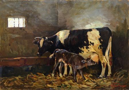 Quadro di Mario Tamburini Mucca olandese - olio tavola