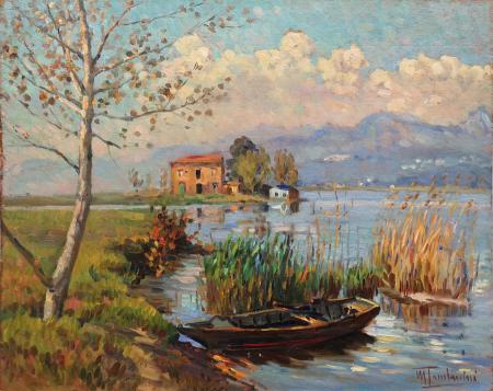 Quadro di Mario Tamburini Lago Puccini - olio tavola