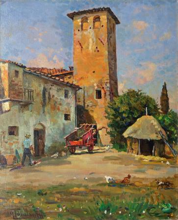 Art work by Mario Tamburini La torre Aquisanati - oil canvas cardboard