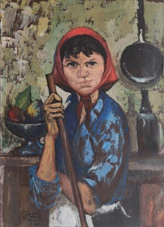 Art work by Gianfranco Antoni Ritratto di donna con velo rosso - oil canvas
