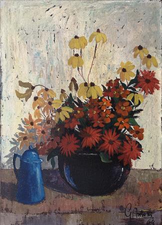Art work by Gianfranco Antoni Fiori di campo e brocca - oil canvas