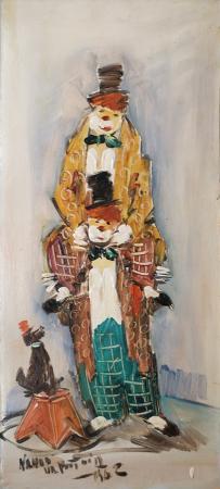 Quadro di Nando Da Pistoia Clown - olio cartone
