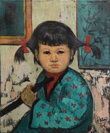 Art work by Gianfranco Antoni Ritratto di bambina con nastro rosso - oil canvas