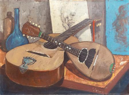 Art work by Gianfranco Antoni Chitarra e mandolino - oil canvas