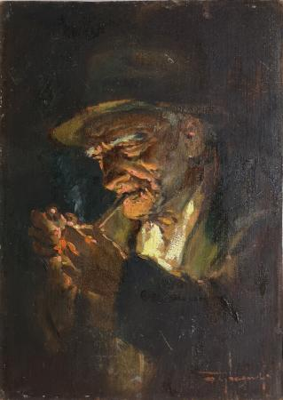 Quadro di Mario Tamburini Vecchio con pipa - olio tavola