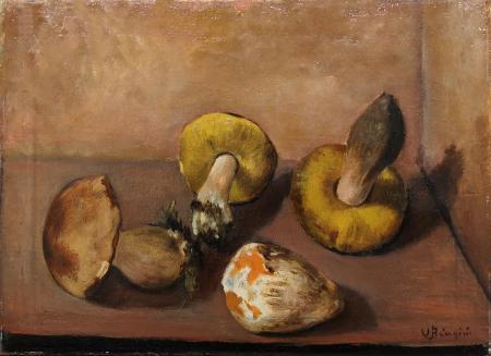 Quadro di U.  Biagini Natura morta con funghi - olio tela