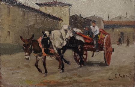 Quadro di Gino Paolo Gori Calesse con asino - olio cartone