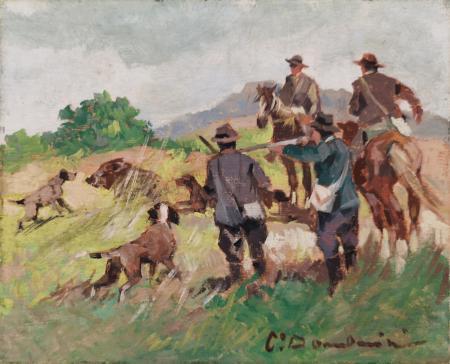 Quadro di Carlo Domenici Caccia al cinghiale (trittico) - olio tavola
