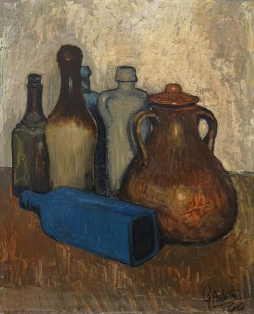 Quadro di Gianfranco Antoni Composizione con bottiglie - olio faesite