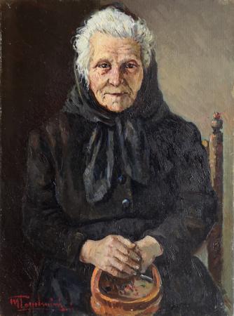 Quadro di Mario Tamburini Vecchia signora con scaldino - olio cartone telato